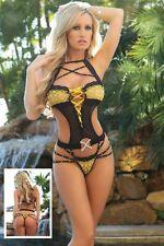 Black Strappy Lace Insert Teddy Pole Dancer Stripper Lingerie Size UK 10-12