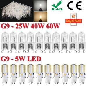 240V-G9-LED-5W-25W-40W-60W-Watts-Clear-Halogen-Capsule-Bulbs-Lights-ROHS-CE-FCC