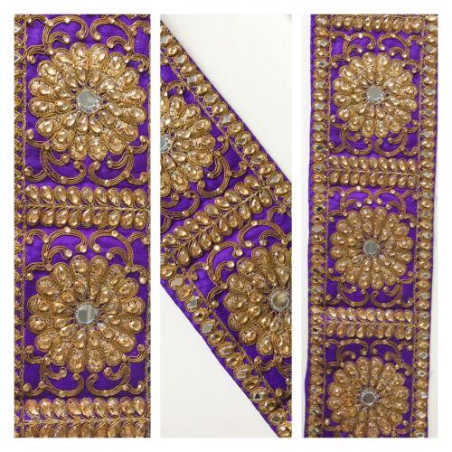 1 Yard Latest Indian Zari Stone Pearl Mirror Lace Trim Sari Dupatta Boarder