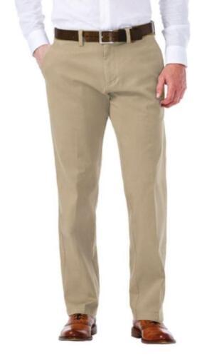 Men/'s Haggar coupe droite Plat Avant Flex Taille Tissu Extensible Pantalon Chino NEUF