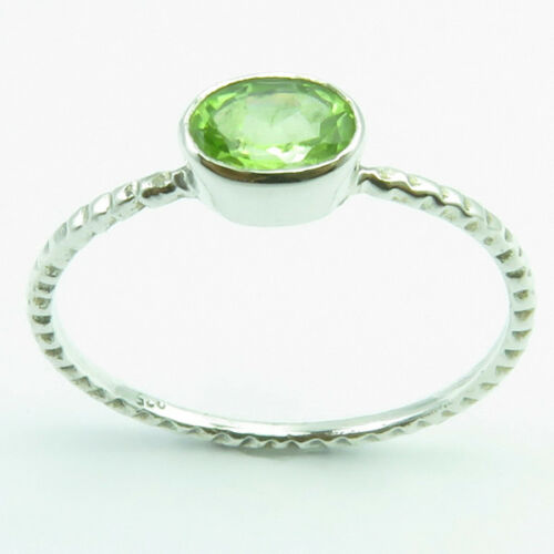 Stackable Ring Band 0.9 GM 925 Argent Massif Simulated Emerald et autres pierres précieuses