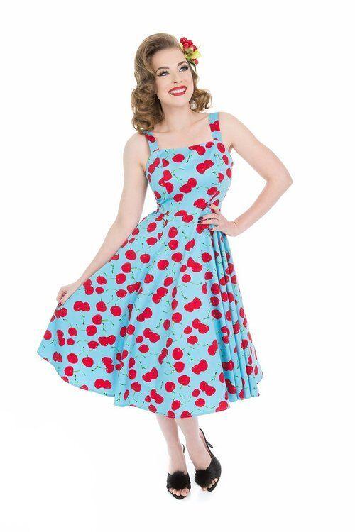 H&R London Martina Sundress Blau rot Cherries Retro 50's Style Pinup Rockabilly
