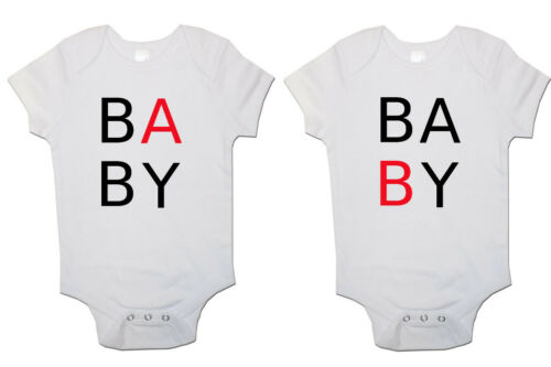 """/""""BABY B/""""/"""" baby /""""BABYGROW VEST Cadeau Ensemble de 2 TWINS BABY Révélateurs"""