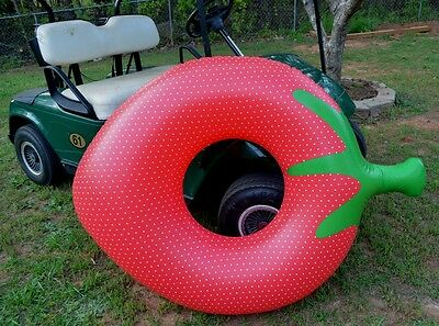 """Extra Large Cute inflatable Strawberry Fruit Swimming Donut Pool Float ring 54/"""""""