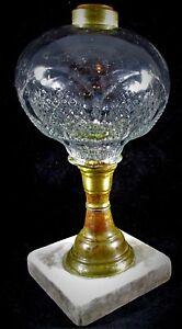 Antique-1870-Buckle-Pattern-Sandwich-Glass-Kerosene-or-Oil-Composite-Stand-Lamp