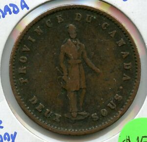 1852-Canada-Quebec-One-Penny-Bank-Token-Coin-JC785