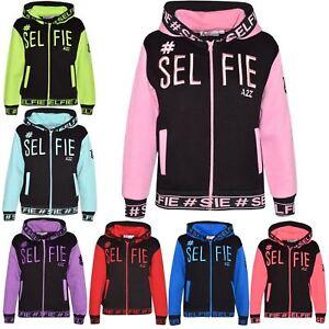 Détails sur Enfants Filles Garçons Vestes Designer's #Selfie Brodé à Capuche Sweat à capuche zippé Tops afficher le titre d'origine