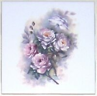 Pale Mauve Rose Flower Ceramic Accent Tile 4.25 Kiln Fired Decor