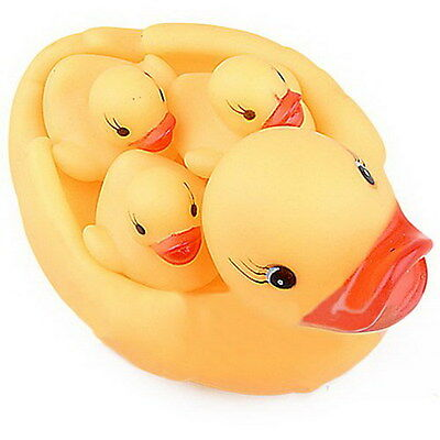 Yellow Four Ducks Baby  Kids Bathing Needed Toys Rubber Race Squeaky Warm Hot HB