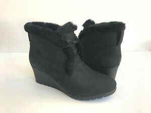 90c79ad96db Details about UGG JEOVANA BLACK WATERPROOF SUEDE WEDGE ANKLE BOOTS US 10 /  EU 41 / UK 8