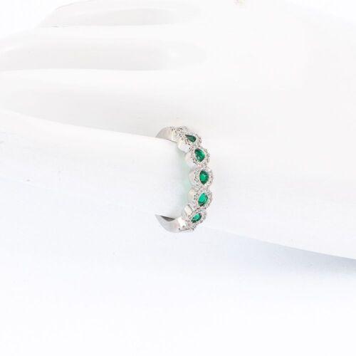 Cristal émeraude taille 6-10 Femmes Mariage Bande Argent Anneaux Bijoux Eternal