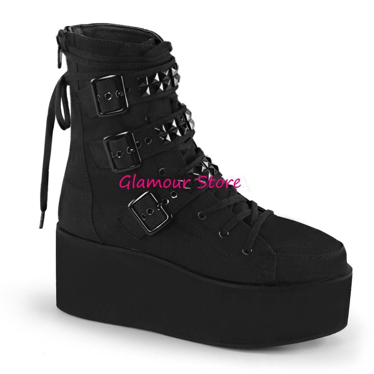 Grandes zapatos con descuento Sexy STIVALETTI ANFIBI DONNA tacco zeppa 7 cm NERO borchiette zip scarpe rock