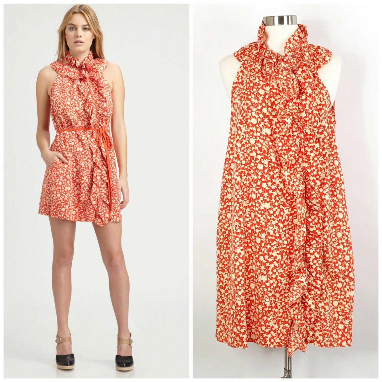 Marc By Marc Jacobs Ando Flower Dress Ruffle S