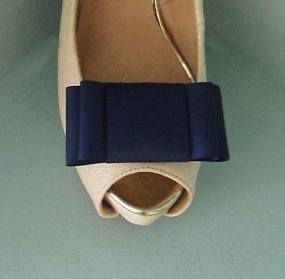 2 Navy Blue Large Double Bow Clip Per Scarpe-altri Colori Su Richiesta-mostra Il Titolo Originale Funzionalità Eccezionali