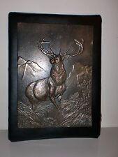 Antique Bronze Elk Scene Plaque Early 1900's Era