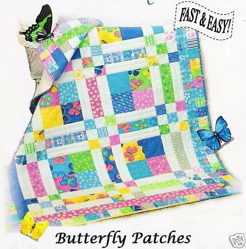 Butterfly Patches Quilt Pattern Baby Crib Twin Queen Easy 3 Sizes