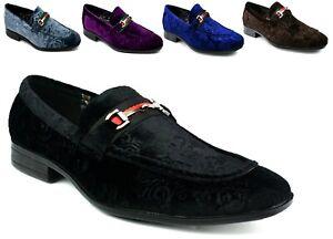 New Men Printed Flower Slip On Buckle Pointed Toe Low Heel Smart Shoe UK Size
