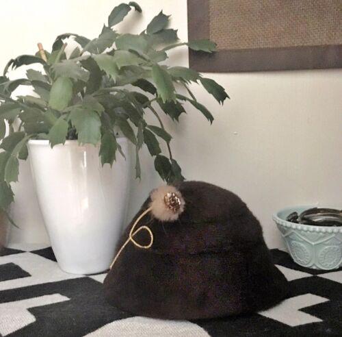 Vintage Pillbox Hat Brown Fur Flower Beehive Handm