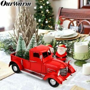 Vintage Red Truck Christmas Decor.Details About Vintage Red Metal Truck Kids Gifts Xmas Table Top Decor With 2 Mini Xmas Tree
