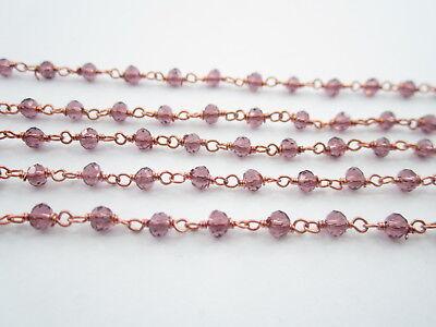 1 metro catenina rosario tono argento concatenata cristallo rosso rubino 3,5 mm