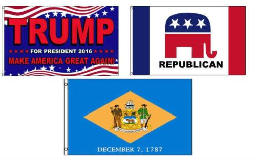 3x5 Trump 2016 /& Republican /& State of Delaware Wholesale Set Flag 3/'x5/'