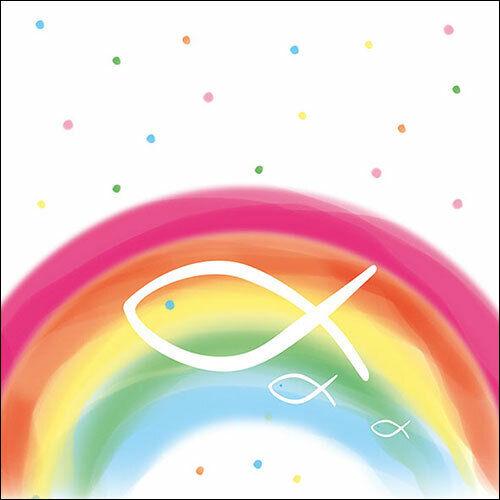 Papier Serviettes-Serviettes Rainbow Blanc Communion et confirmation environ 33x33cm