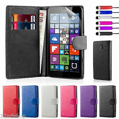 32nd Book Wallet Case Microsoft Lumia 640 & 640XL + Screen Protector & Stylus
