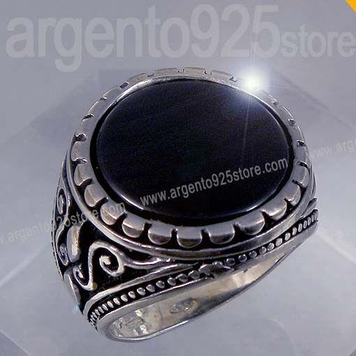 ANELLO UOMO in argentoo 925 con Pietra Nera Nera Nera Onice liscia -  DUKE Prestige ac cda8ff