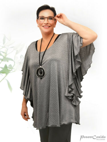PoCo DeSiGn LAGENLOOK Tunika Long-Shirt Top Volantarm grau /& rose L-XL-XXL-XXXL