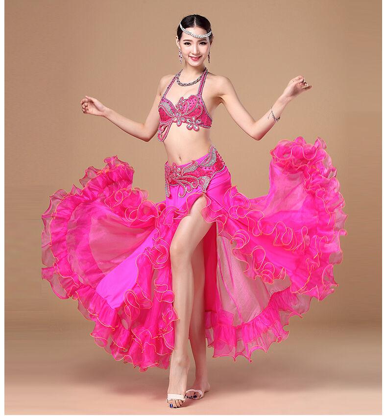 D092 Bauchtanz Kostüm Fasching Belly Dance Costume 2 Teile Teile Teile Oberteil BH Gürtel 565608