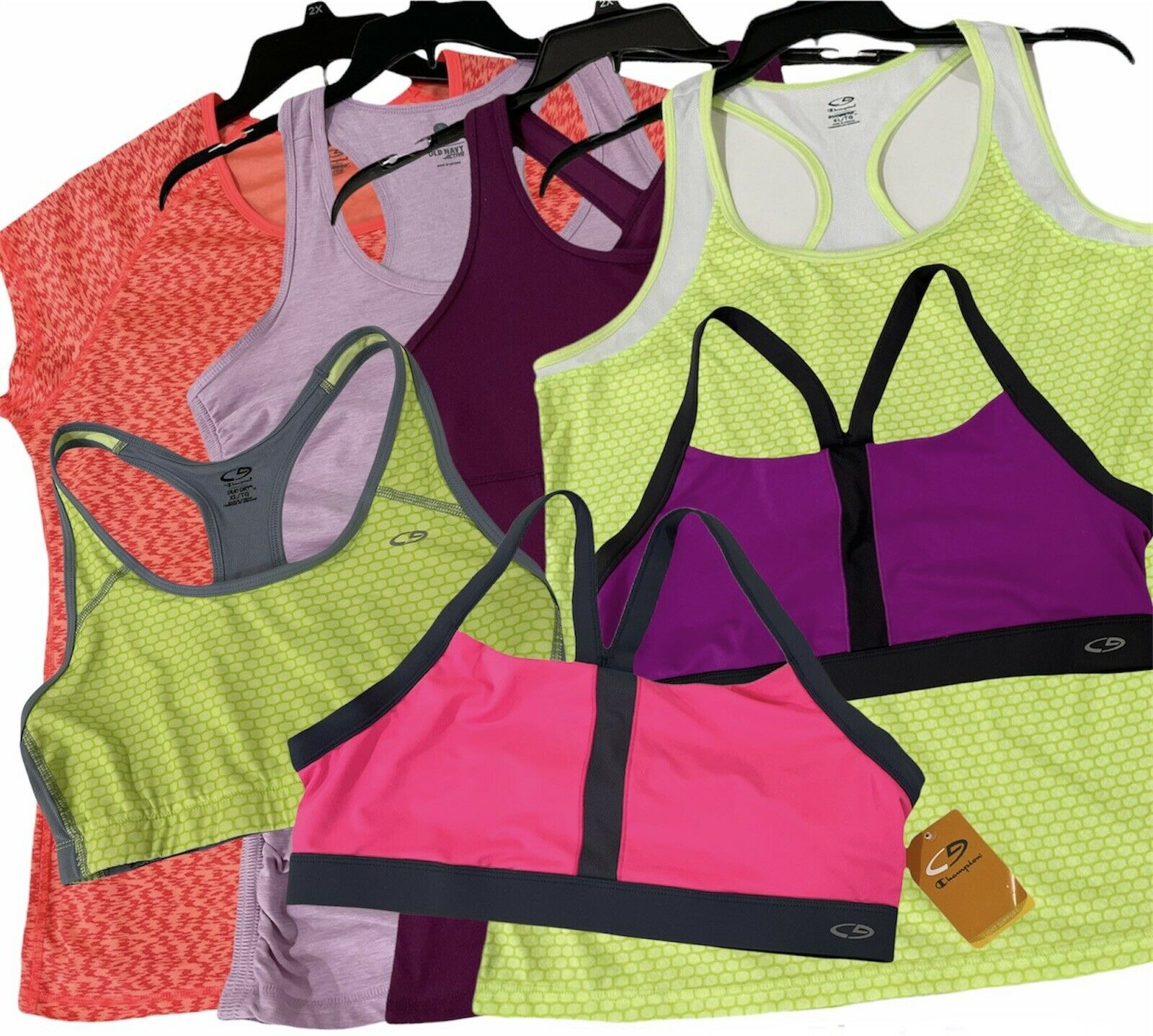 Lot of 7 - C9 Champion Old Navy Women's Activewear Tops Sport Bras - Size XL