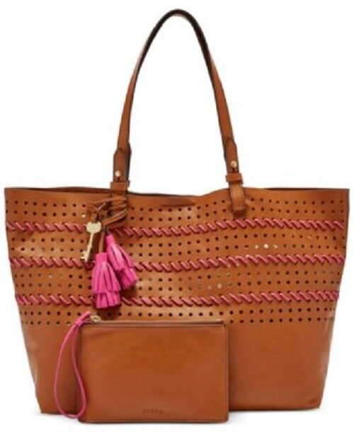 0905335a6 Fossil Rachel Collection Perforated Shoulder Tote Brown Pink Leather 01 for sale  online | eBay