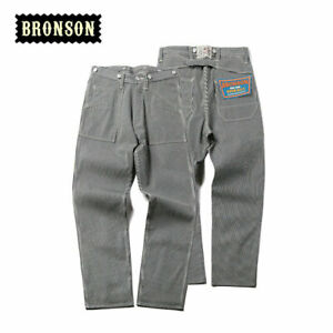 Details About Bronson Men S Vintage Workwear Pants High Rise Straight Trousers Unwash Casual