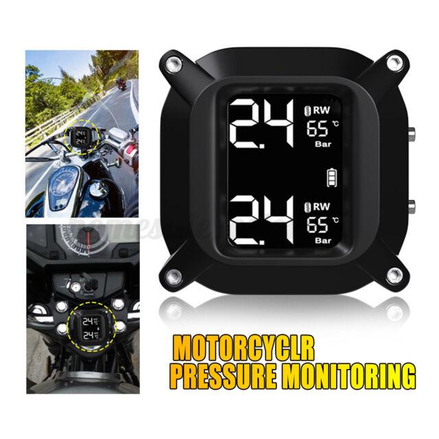 Waterproof Cordless TPMS Motorcycle Tire Pressure Monitoring System+2 Sensors US