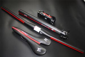 3k-finish-Carbon-Fiber-MTB-Bike-Handlebar-Bicycle-Stem-Carbon-seatpost-saddle