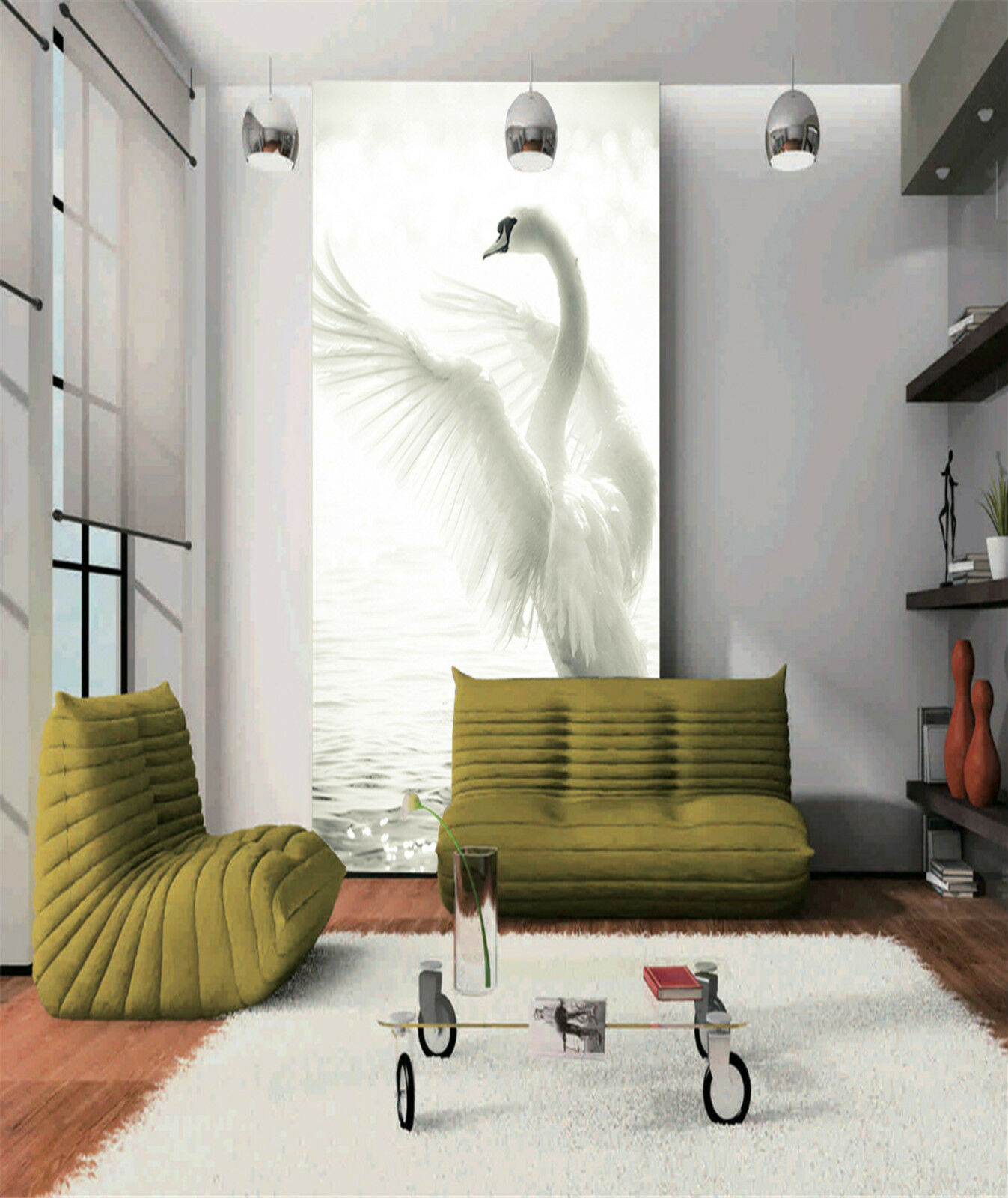 3D Der SEE schwan Fototapeten Wandbild Fototapete Bild Tapete Familie Kinder