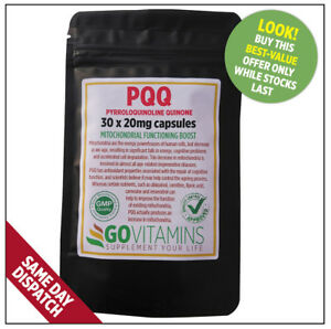 BEST SELLING 20mg PQQ Pyrroloquinoline Quinone VEGETARIAN CAPSULES or TABLETS