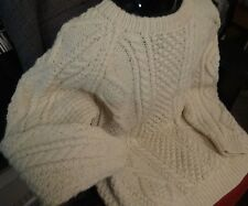 Mens Antartex Scotland Hand Knitted Cream Wool Cable Knit Fisherman Sweater 44 M