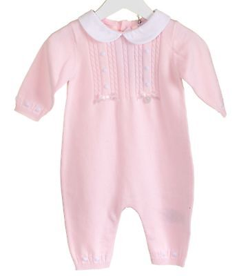 MINTINI BABY GIRL PRETTY PINK SPANISH STYLE BOW AND FRILL ROMPER SUIT /& HAT SET