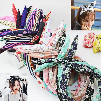 10Pcs Lovely Lady Girls Bunny Rabbit Ear Ribbon Headband Hair Head Band Bow Gift