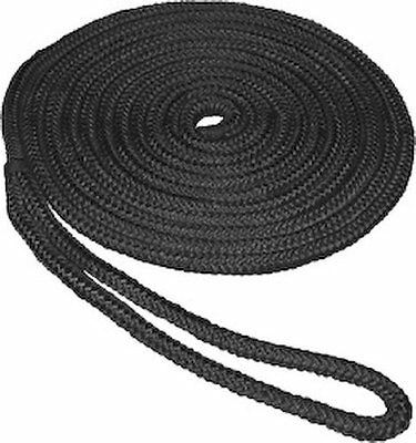"""PREMIUM DOUBLE BRAIDED // LOOP BOAT DOCK LINE ROPE BLACK 1//2/"""" X 30/'"""