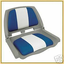 Folding Padded Boat Seat - Grey White/Blue - NEW