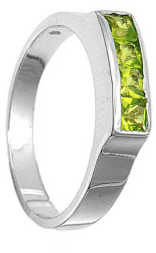 Peridot CZ Polished Unique Simple Ring New .925 Sterling Silver Band Sizes 1-4