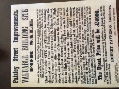 facsimile Rare Scottish . Paisley,19th Century Auctioneers Poster