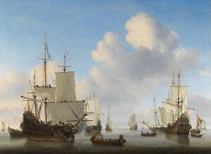 Man-039-o-039-war-hollandais-et-autres-bateaux-par-mer-calme-van-de-Velde-Poster-metal