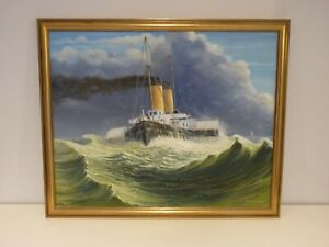 Oil Painting on Canvas,The Crossing By A.Rowland-Page, Seascape