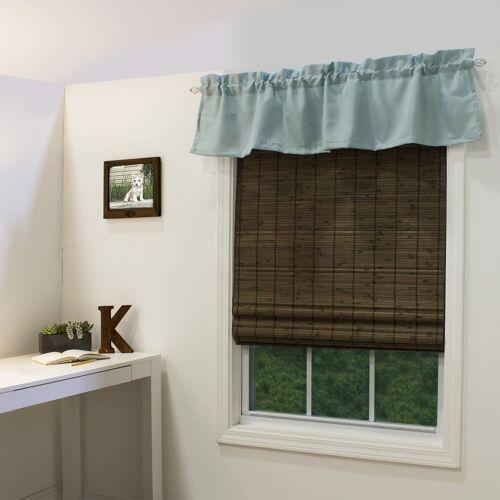 Bamboo Roman Window Shade Blind Roll Up Roller Cordless Cocoa Flatstick Interior