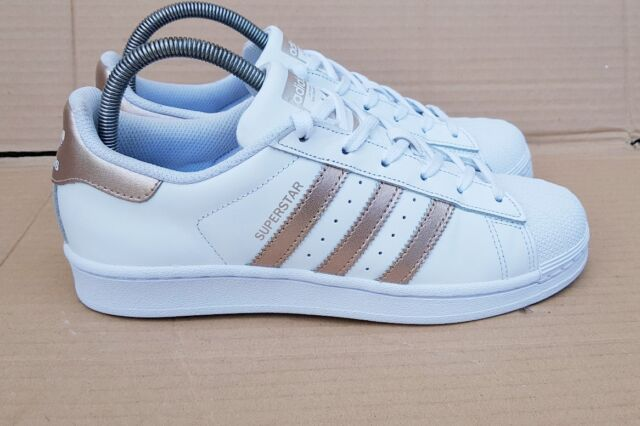 finest selection fcdd5 b6cbb GORGEOUS ADIDAS SUPERSTAR WHITE & ROSE GOLD TRAINERS SIZE 4 UK GOOD  CONDITION