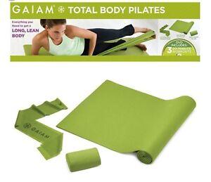 Gaiam Total Body Pilates Challenge Kit Mat Neck Pillow Resistance