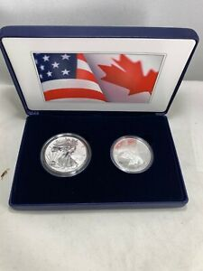 2019-US-MINT-amp-ROYAL-CANADIAN-MINT-2-OZ-SILVER-PRIDE-OF-TWO-NATIONS-SILVER-EAGLE